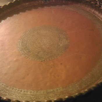 "Antique copper platter 31.5"" - Asian"