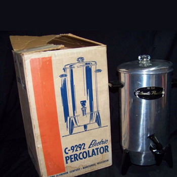 Vintage MIRRO C-9292 ELECTRIC COFFEE PERCOLATOR 22 Cup Working w/Original Box!
