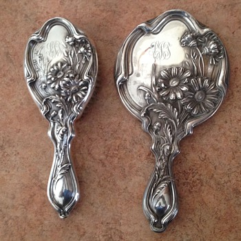 Antique Monogram Brush and Mirror, Stamped Sterling with a sheild with SD inside, Dated  - Sterling Silver