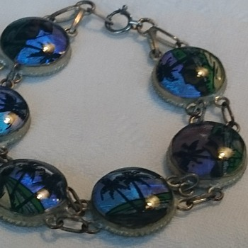 Vintage morpho butterflywings reverse painted panel bracelet