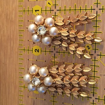 Simulated Pearl and Rhinestone Earrings by Sarah Coventry