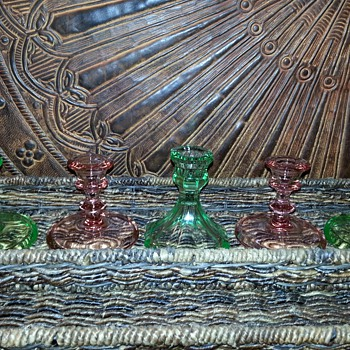Green Depression Candlestick Holders - Glassware