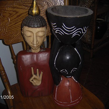 Two Vintage Wood Figures,Chinese Bust 3 Fingers up,African Bust Holding Bowl