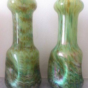 Pair of green Rindskopf vases - Art Glass
