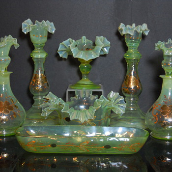 Enameled Vanity Set - Art Glass
