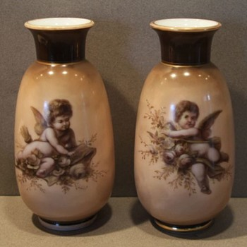 Pair 19thc  German Hand Painted Art Glass Vases with Cherubs  - Pottery