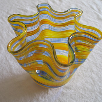 Blue Yellow Vase - Art Glass