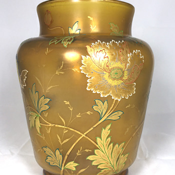 "Fritz Heckert Amber Glass Vase. 8.5"" Tall. Circa 1900"