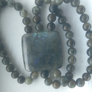 Large mineral stone bracelet with vibrant blue inside the stone labradorite - Costume Jewelry