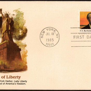 1985 - Bartholdi / Statue of Liberty Stamp First Day Cover - Stamps