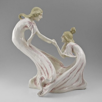 Unknown Maker - Art Nouveau Figural Porcelain of Two Playful Maidens - Art Nouveau