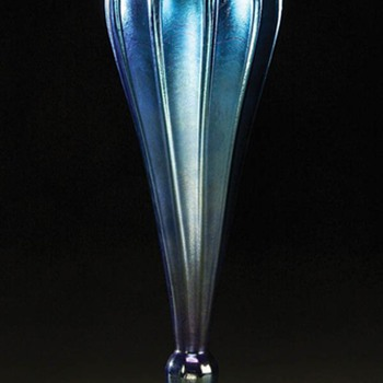 L.C.Tiffany Tall Blue Vase c. 1910 - Art Glass