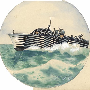 Camouflaged PT Boat Water Color Painting - Military and Wartime