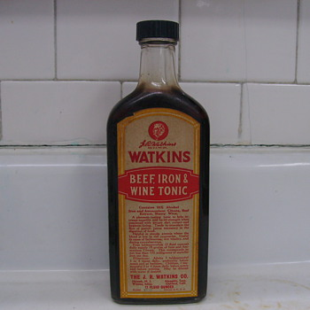 1960's Bottle of Watkins Beef & Iron Tonic, Still Full of Tonic! - Bottles