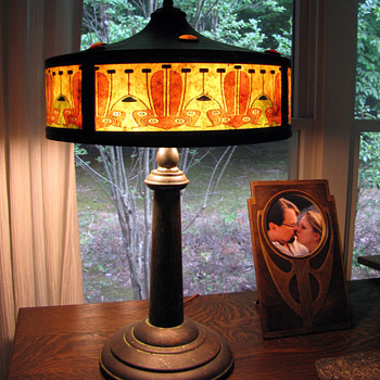 Jugendstil Printed Mica Shade & Jeweled Copper Lamp - Art Nouveau