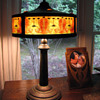 Jugendstil Printed Mica Shade & Jeweled Copper Lamp