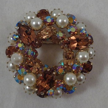 Sherman Brooch Faux Pearls Smoky Topaz & Aurora Borealis Rhinestones - Costume Jewelry