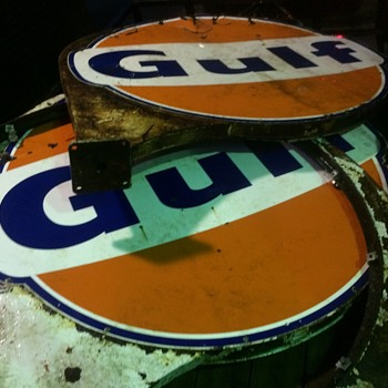 1960's double side GULF signs and frames - Petroliana