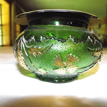 Antique Green, and Gold flowered Glass Canister with Lid ...Any help identifying this would be appreciated! - Art Glass