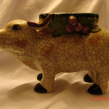 Strange Ceramic Cow Oxen Planter Black Letter Japan
