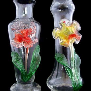 Kralik Applied Glass Flower Vases.  Designed by Hosch - Art Glass