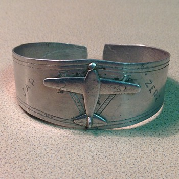 WWII Trench Art Jap Zero bracelet  - Military and Wartime