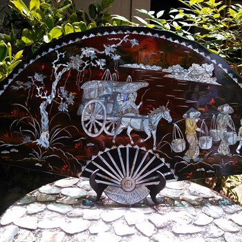 "Mother of Pearl inlay ""Fan"" Japanese Art - Asian"