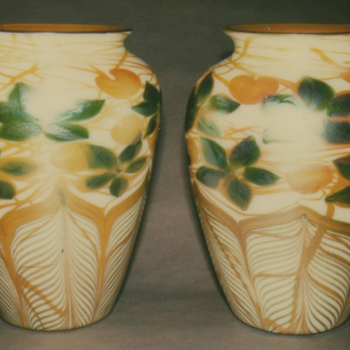 QUEZAL ART GLASS VASES, circa 1915