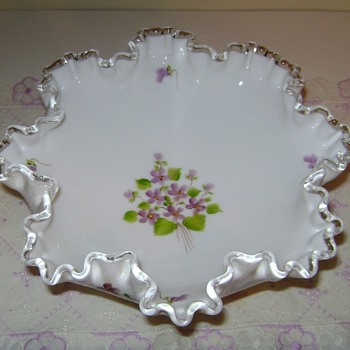 Fenton Glass Compote - Violets in the Snow