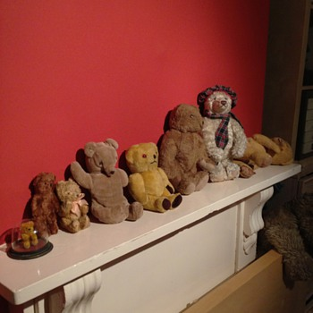 A Collection of old teddy bears