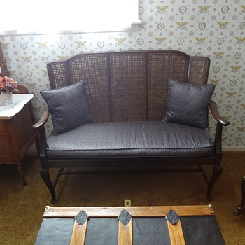 Antique Cane Couch/Rocking Chair, Bed Frame, and Buffet