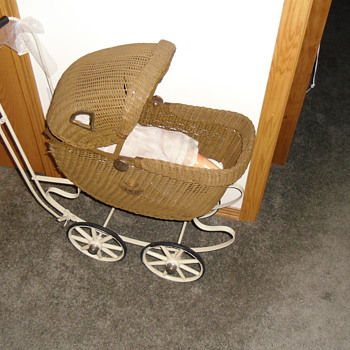 antique doll stroller and baby buggy - Dolls