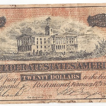 Confederate 20 dollar bill - US Paper Money
