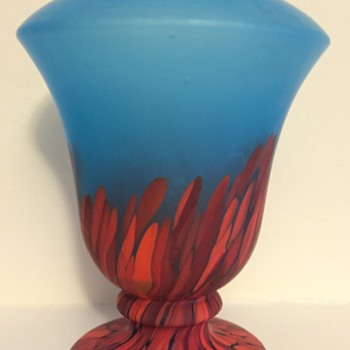 Blue satin glass urn with spatter bottom