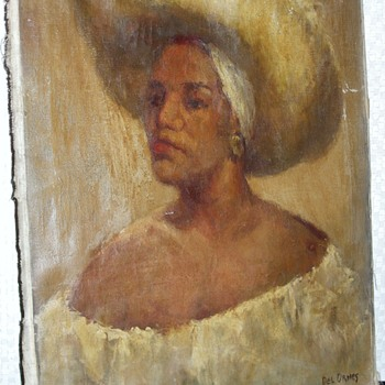 Artist Info. Request - Antique Caribbean Woman Painting - Visual Art