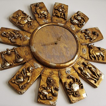 "Large Vintage Zodiac Sunburst Clock - 36"" Dia."