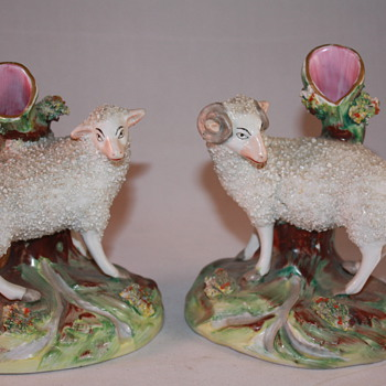 Staffordshire Ewe and Ram spill vases