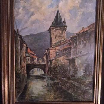 European Scene Oil on Paper - Visual Art