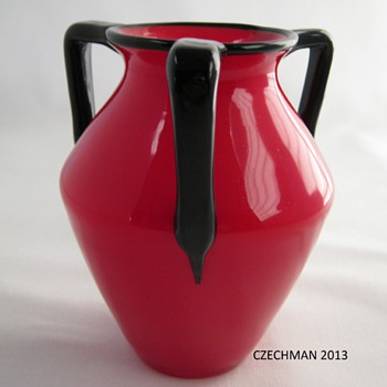 Loetz Ausführung 162 Red Tango art glass Amethyst three handled vase