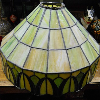 Antique slag glass lamp shade