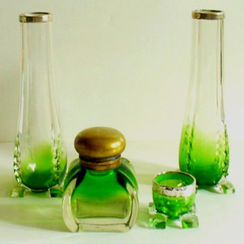 KRALIK, PK AND HANSA INKWELLS WITH MATCHING VASES.