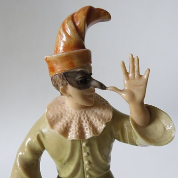 Punch or Jester figurine on alabaster base found at a charity shop