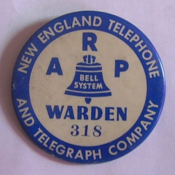 New England Telephone Air Raid Protection Warden Badge