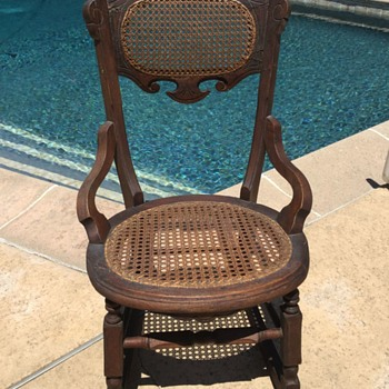Antique Vintage Child's  Caned Seat & Back Rocking Chair