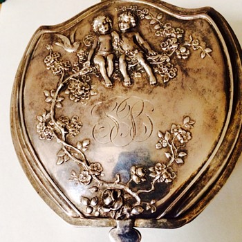 Art Nouveau Silver Plate Jewelry Dresser Box With Cupids