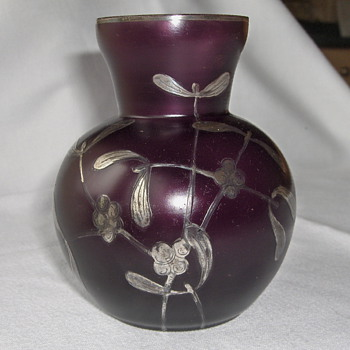 Latest Goldberg Matte Purple Glass Vase Silver Deposit Etched Mistletoe Design