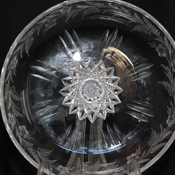 American Brilliant Cut Glass Dish Signed Sinclaire