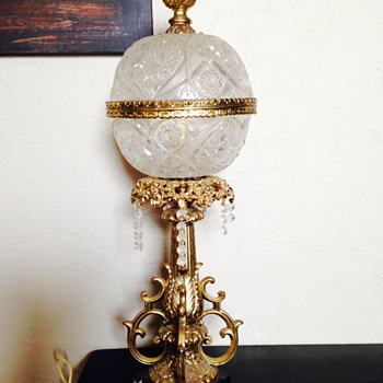 Antique crystal/brass tiffany lamp with marble base - very heavy