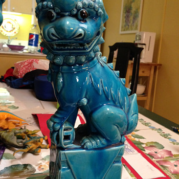 Antique Turquoise Foo Dogs - Art Pottery