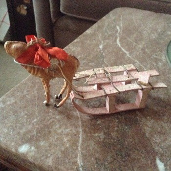 Reindeer with cardboard sleigh - Christmas